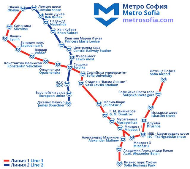 Ot Centra Do Letishe Sofiya 18 Minuti S Metroto Karta